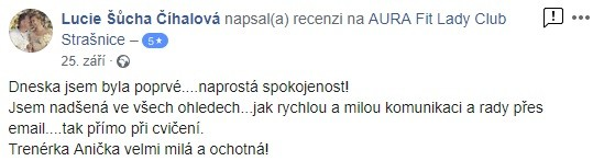 aurafit refernce zkušební trénink Lucie Šůcha Číhalová