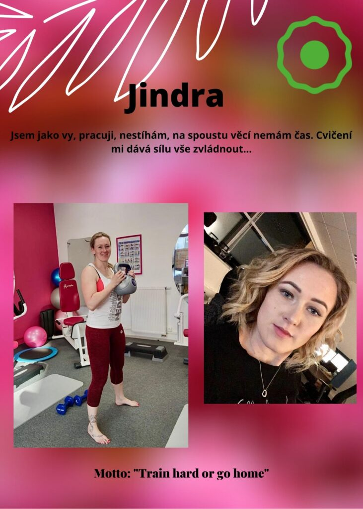 """Jindra: jsem jako Vy, pracuji, nestíhám, na spoustu věcí nemám čas. Cvičení mi dává sílu vše zvládnout! """"Train Hard or Go Home!"""""""